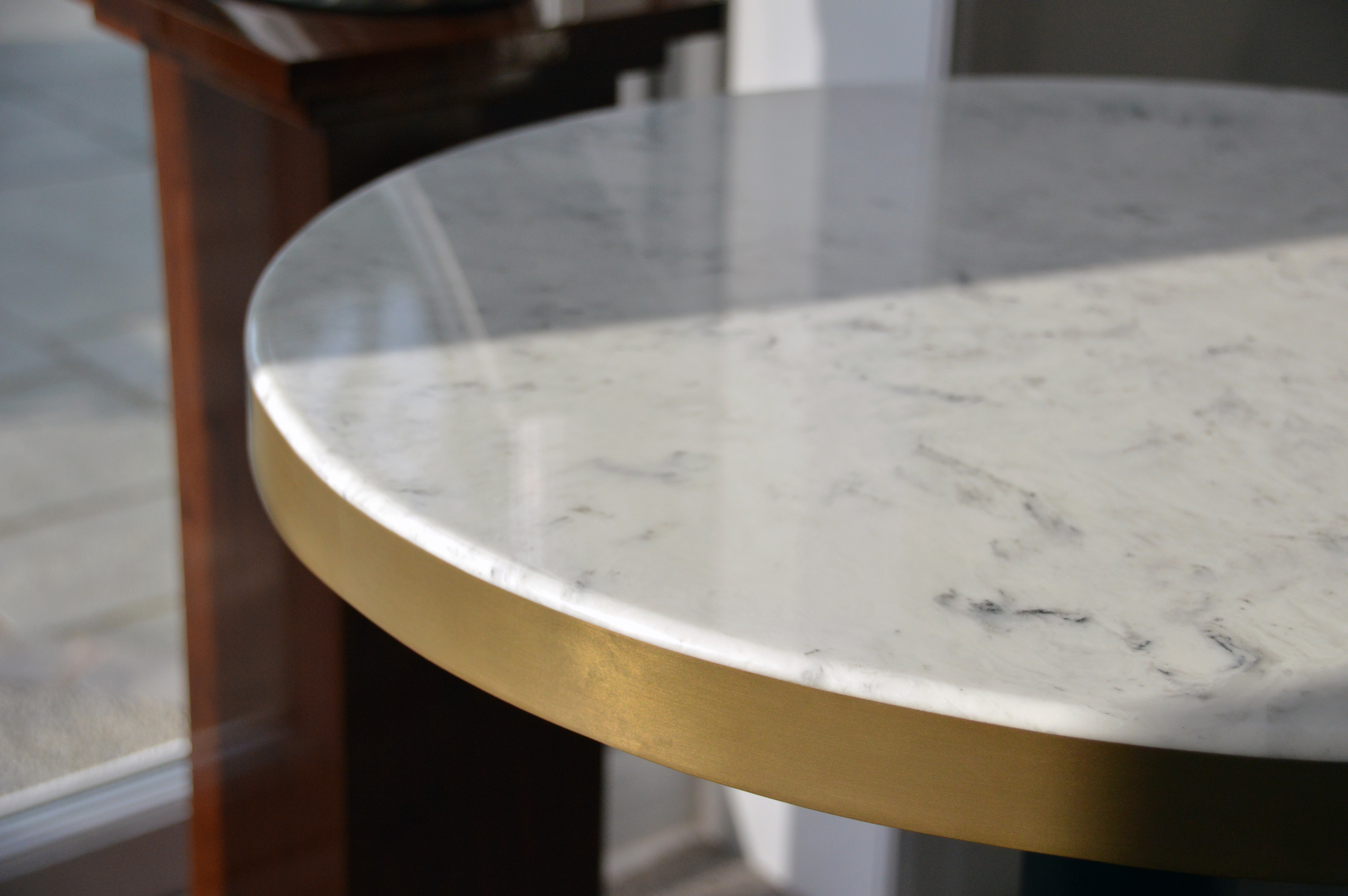 Bespoke Faux Marble table tops with Metal Banding